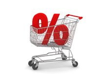 Shopping Cart with Percent Sign. Digital render of a Shopping Cart with a Percent Sign Stock Photography