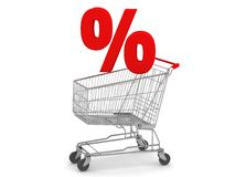 Shopping Cart with Percent Sign. Digital render of a Shopping Cart with a Percent Sign Royalty Free Stock Image