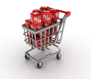 Shopping Cart with Percentage Blocks Stock Images