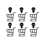 Shopping cart with percentage discount set icon .Objects isolated on background. Flat and cartoon  illustration. Stock Image