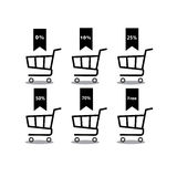 Shopping cart with percentage discount set icon .Objects isolated on background. Flat and cartoon  illustration. Stock Photos