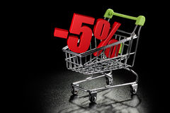 Shopping cart with 5% percentage rate Royalty Free Stock Photos