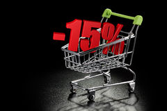 Shopping cart with 15 % percentage Stock Images