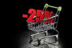 Shopping cart with 25 % percentage Stock Image