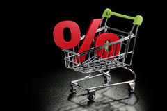 Shopping cart with percentage sign Royalty Free Stock Photography