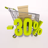 Shopping cart and percentage sign, 30 percent Stock Photo