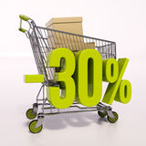 Shopping cart and percentage sign, 30 percent Stock Photos