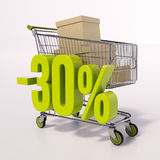 Shopping cart and percentage sign, 30 percent Stock Photography