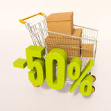 Shopping cart and percentage sign, 50 percent. 3d render: shopping cart and green 50 percentage discount sign on white, sale 50 Vector Illustration
