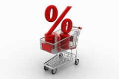 Shopping Cart With Percentage Symbol Stock Photography