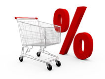 Shopping Cart and Percentage Symbol Stock Image