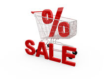 Shopping Cart and Percentage Symbol Royalty Free Stock Photo