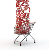 Shopping cart and percentages falls Stock Photography