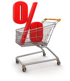 Shopping Cart and percents (clipping path included) Royalty Free Stock Images
