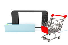 Shopping Cart with Phone in Card Reader Stock Images