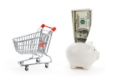 Shopping cart and Piggy bank Stock Photography