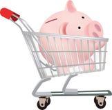 Shopping cart with piggy bank Stock Photos
