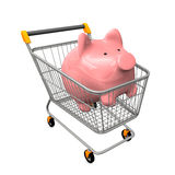 Shopping Cart Piggy Bank Stock Image