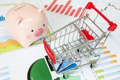 Shopping cart and  piggy bank Stock Photos