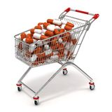 Shopping cart pills Stock Photo
