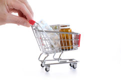 Shopping cart with pills Stock Photography