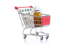 Shopping cart with pills Royalty Free Stock Image