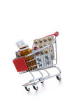 Shopping cart with pills Stock Photo