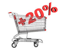 Shopping cart with plus 20 percent sign isolated on white Royalty Free Stock Photo
