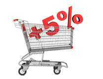 Shopping cart with plus 5 percent sign isolated on white Royalty Free Stock Photo