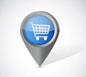 Shopping cart pointer illustration Royalty Free Stock Photo