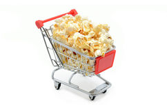 Shopping cart with popcorn Royalty Free Stock Photography