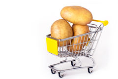 Shopping cart with potatoes Royalty Free Stock Photo