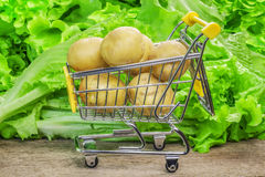 Shopping cart with potatoes. On a lettuce background Stock Photos