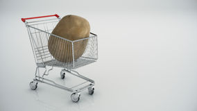 Shopping cart with potatoes Royalty Free Stock Photography