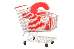 Shopping cart with pound sterling symbol, 3D rendering Stock Images