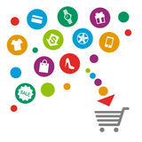 Shopping cart prepared to load some things Stock Images