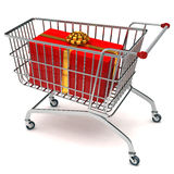 Shopping cart with present Stock Photography