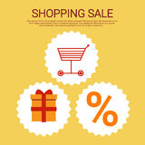 Shopping Cart Present Box Big Sale Banner Royalty Free Stock Images