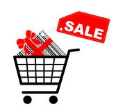 Shopping cart with present and sale label. Vector Stock Photo