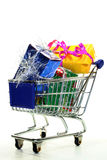 Shopping Cart with presents Stock Photography