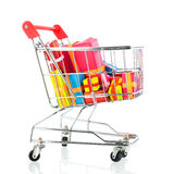 Shopping cart with presents Royalty Free Stock Photo
