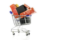 shopping cart with presents Royalty Free Stock Images