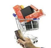 shopping cart with presents Stock Photos