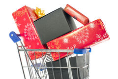 Shopping cart with presents Stock Image