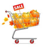 Shopping Cart with Pumpkins Stock Images