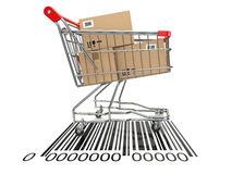 Shopping cart with purchases on bar code. Royalty Free Stock Photo