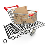 Shopping cart with purchases on bar code. Stock Image