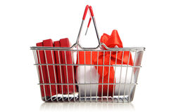 Shopping cart with purchases Royalty Free Stock Image