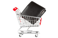 Shopping cart and purse Stock Photos