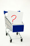 Shopping cart with question Royalty Free Stock Photo